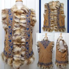 Vintage Jacket/Vest RABBIT FUR TRIM Suede/Leather Blue Embroidery - 3 Front Wood Toggle Buttons Medium/Large DON'T MISS OUT!  RARE! (Designer Label Missing) Sold