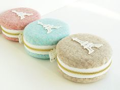 Macaron purse/Woollen fabrics/macaron coin purse/ Eiffel Tower Paris/macaroon box or Jewelry pouch/Romantic box-MWE801 on Etsy, $18.00