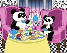 Printable Digital Panda Bear Digital Nursery Decor Art for Kids Children Babies Whimsical Artwork Storybook Art by Beebus Marble