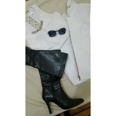 #outfitideas #fashion  #outfitoftheday #heelboots #blazer #blackandwhite