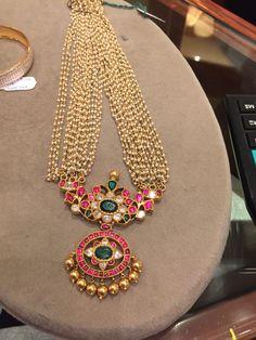 Moti Haar with kundan India Jewelry, Temple Jewellery, Pendant Jewelry, Beaded Jewelry, Gold Jewelry, Ruby Pendant, Gold Bangles, Gold Pendant, South Indian Jewellery