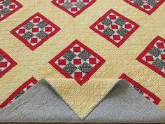 Antique c1880s Calico Quilt Yellow Red Black Very Good Condition Clean | eBay Vintageblessings