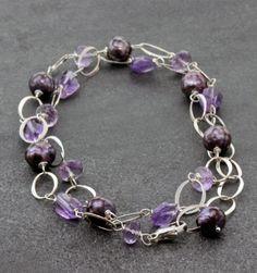 "Susan Schaps Amethyst & Pearl Necklace - Sterling Silver, Amethyst and Freshwater Pearl Necklace, 21"""