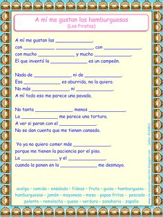 Me encanta escribir en español: Canción: A mí me gustan la hamburguesas (Los Piratas)