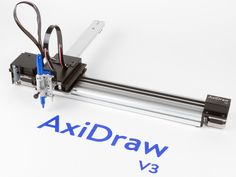 AxiDraw from Evil Mad Scientist is a CNC Pen Plotter. Add a handwritten look, with a computer. Cnc Router Plans, Diy Cnc Router, Cnc Lathe, Xy Plotter, Evil Mad Scientist, Machine Cnc, Open Source Hardware, Arduino Cnc, Drawing Machine