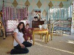 Brooke Burke showing off her gorgeous twins nursery featuring brat decor's venetian 4 poster iron baby cribs in gold. Cheetah Nursery, Nursery Twins, Nursery Room, Burke Nursery, Celebrity Nurseries, Nursery Pictures, Nursery Ideas, Room Ideas, Brooke Burke