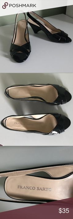 Franco Sarto Black Patent Leather Slingback Heels Size 8.5, excellent condition, wear shown in pictures. Black patent leather, rubber sole. Footbeds in great condition. Elastic on inside of back strap for comfort. Franco Sarto Shoes Heels
