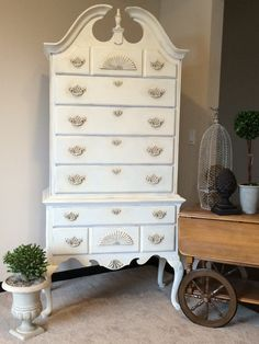 highboy dresser refinished with annie sloan chalk paint in old white