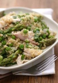 Quinoa Primavera with Spring Peas and Asparagus | Whole Foods Market - replace chicken with tofu/tempeh