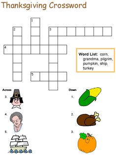 Thanksgiving Crossword Puzzle - Best Coloring Pages For Kids