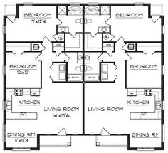 Duplex Floor Plans, House Floor Plans, Duplex House Design, Apartment Complexes, Investment Property, Small Apartments, Building A House, Beach House, Home And Family