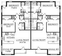 Duplex Floor Plans, House Floor Plans, Building Plans, Building A House, Building Ideas, Duplex House Design, Apartment Complexes, Multi Family Homes, Apartment Plans