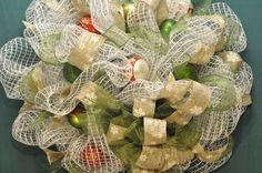 Christmas Deco Mesh Wreath  White Mesh with Green and by TiffaneyS, $65.00