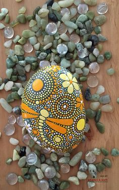 Hand Painted Dragonfly Stone Art - Rock Art - Mandala Inspired Design - Natural Home Decor - yellow shades of orange collection #37 - $40 - ethereal & earth - otherworldly and of the world creations. FREE Shipping!
