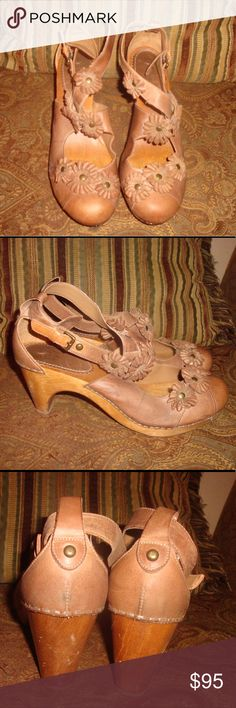"""Brown Leather w/Flowers Miss Albright Pumps  8B Brown Leather w/Flowers Miss Albright Pumps are a size 8B with a 2 1/2"""" wooden heel. These pumps have an adjustable buckled strap and were made in Brazil. These pumps have been very well kept. Miss Albright Shoes Heels"""