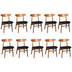 Set of Ten Hans Wegner Model CH 30 Chairs in Stamford, CT