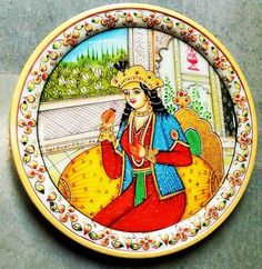 """Creative Crafts Marble Decorative Plate 9"""" Hand Painted Home Decorative Handicraft by HandicraftsByNew on Etsy"""