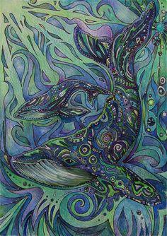 To me this looks like whale zen tangle art ; Illustration Photo, Whale Art, Whale Sharks, Kunst Poster, Tangle Art, Wow Art, Animal Totems, Ocean Art, Ocean Life