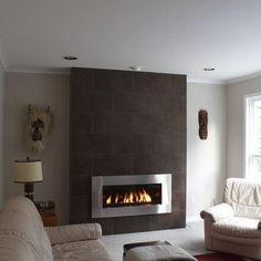 Contemporary Gas Fireplace Design, Pictures, Remodel, Decor and Ideas wish this would go with my house Farmhouse Fireplace, Home Fireplace, Fireplace Remodel, Modern Fireplace, Fireplace Surrounds, Basement Fireplace, Gas Fireplaces, Contemporary Fireplace Designs, Contemporary Family Rooms