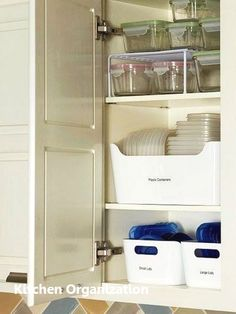 Declutter Your Kitchen: 15 Kitchen Clutter Items To Throw Away Right Now kitchen clutter solutions: declutter kitchen cabinets. Organize your tupperware and plastic containers for an uncluttered kitchen on a budget, Diy Kitchen Cupboards, Kitchen Cupboard Organization, Pantry Storage, Diy Storage, Kitchen Storage, Home Organization, Kitchen Pantry, Storage Ideas, Kitchen Ideas