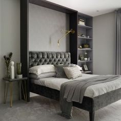 〚 Elegant modern apartment in London by Love Interiors 〛 ◾ Photos ◾Ideas◾ Design Headboard With Shelves, Apartment, London Apartment, Modern Apartment, Furniture, Mirrored Bedroom Furniture, Home Decor, Stylish Bedroom, Hall Furniture