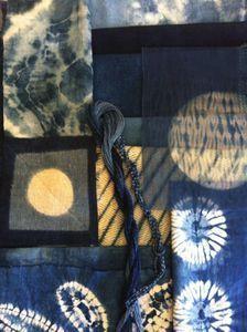 Shibori Images of indigo blue fabric assortment