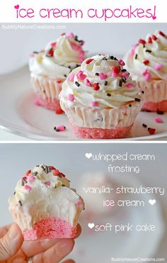 Cupcakes Ice Cream Cupcakes ~ Make these for a party and you wont have to scoop ice cream or cut cake when it comes time to serve!Ice Cream Cupcakes ~ Make these for a party and you wont have to scoop ice cream or cut cake when it comes time to serve! Cupcake Recipes, Cupcake Cakes, Dessert Recipes, Cupcake Ideas, Picnic Recipes, Cupcake Emoji, Disney Cupcakes, Dessert Healthy, Dessert Ideas