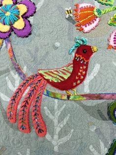 Kerry Stitch Designs: My Journey To Enchantment Fabric Birds, Felt Fabric, Fabric Art, Felt Applique, Applique Quilts, Bird Crafts, Felt Crafts, Elephant Applique, Wool Quilts