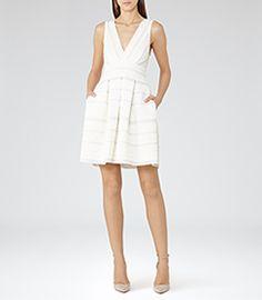 Womens Off White Open-back Dress - Reiss Maddox