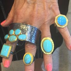 Which one is your fave? #likabeharcollection #likabehar #turquoisetuesday #24k #gold #oxidizedsilver #rings #cuff