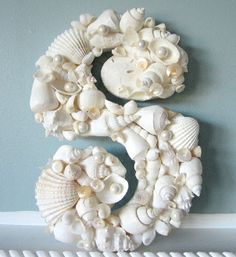beach decor seashell letter in all white - nautical shell decorative wall letters    $44