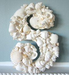 Beach decor coastal white seashell letter - Nautical decor shell decorative wall letters, $45. BUY HERE: http://shop.beachgrasscottage.com/Beach-Decor-Seashell-Wall-Letters-Nautical-Any-Letters-Shell-18b.htm