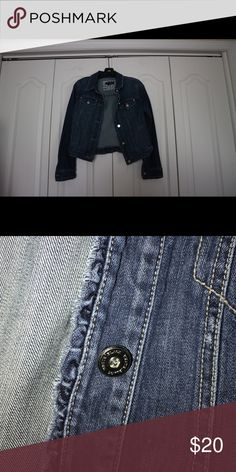 Denim Jacket Cute jean jacket with a little ruffle with cute buttons White House Black Market Jackets & Coats Jean Jackets