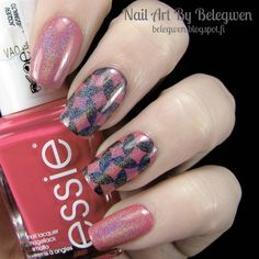 Nail Art By Belegwen: Essie Watermelon and Piper Polish SpectraFlair Top Coat