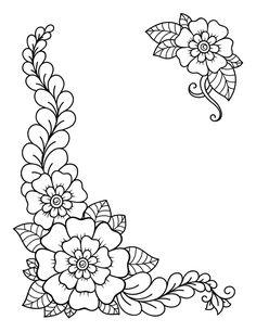 Set of mehndi flower. decoration in ethn. Simple Flower Drawing, Beautiful Flower Drawings, Flower Art Drawing, Simple Flowers, Simple Flower Design, Flower Embroidery Designs, Flower Patterns, Flower Designs, Embroidery Patterns