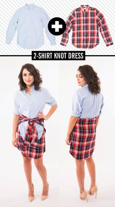 How to Create Dresses With Men's Shirts - How to Wear a Boyfriend Shirt