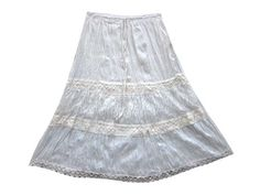 Knee Length Skirt Cotton Tiered Lace and Ribbon White Crinkle Skirts for Womens Mogul Interior,http://www.amazon.com/dp/B00J9D7BF6/ref=cm_sw_r_pi_dp_eUwntb0EH14GRC7A