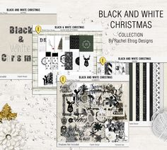 Black And White Christmas Bundle - Digital Scrapbooking Bundle + Project Life Pocket Page Cards by Racheletrogdesigns on Etsy