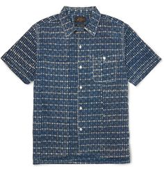 A cool choice for warm weather, <a href='http://www.mrporter.com/mens/Designers/Beams_Plus'>Beams Plus</a>' short-sleeved shirt is cut from ultra-soft and breezy cotton. The decorative navy and off-white print is accentuated with crisp white stitching, while the side slits ensure it layers smoothly. Build a preppy weekend look with chinos and boat shoes.