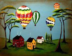Original American Folk Art Painting Hot Air by KathrynRamos