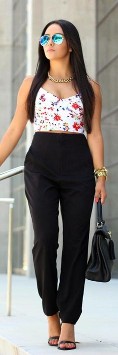 Crop Top  High Waisted Trousers -  MayteDoll