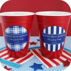 """Personalized Red Cup Tumblers - Party Favors - These BPA free tumblers are great for use with an assortment of cold and frozen drinks. Each tumbler (4"""" wide x 5.25"""" high) is double wall insulated to insure your drink will stay cold and your hands will stay dry, even when the party heats up. Accent any wedding, birthday, shower, reunion, festival or business gathering with these personalized red cup tumblers that your friends and family will enjoy reusing year after year."""