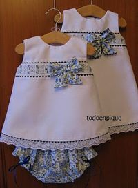 TODO EN PIQUE para bebe This pattern is so cute and can be prettied up in lots of ways. Little Dresses, Baby Outfits, Little Girl Dresses, Toddler Outfits, Kids Outfits, Girls Dresses, Girl Dress Patterns, Clothing Patterns, Baby Kind