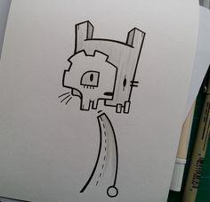 Quick doodle by Stina Jones Cute Animal Drawings, Cartoon Drawings, Easy Drawings, Graffiti Drawing, Street Art Graffiti, Spiderman Drawing, Diamond Drawing, Graffiti Characters, Graffiti Wallpaper