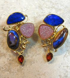 Boulder opal earring with drusy quartz and garnet in 22k and 18k.  by Jennifer Kalled; boulder opals from Bill Kasso
