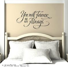 You will forever be my always This hand lettered design is so romantic and timeless! This unique wall decal is a beautiful way to decorate your bedroom. Tell us your color choice in the note to seller section of the check out form. If no color is specified it will be sent in BLACK (as seen in photo). Need a different size? Convo us! It really looks like it is painted on your wall. For those of you who have textured walls or love the value of reusing vintage materials, we can offer this…