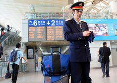 Nanjing Train Station Guard with Timbuk2