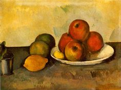 Cézanne, Paul  Still Life with Apples   c. 1890 (110 Kb); Oil on canvas, 35.2 x 46.2 cm (13 3/4 x 18 1/8 in); The Hermitage, St. Petersburg   No. ZKP 558. Formerly collection Otto Krebs, Holzdorf