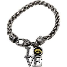 Iowa Hawkeyes Women's Love 7.5'' Silvertone Bracelet