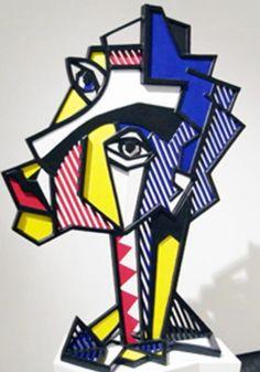 #RoyLichtenstein  Expressionist Head, 1980   Painted Bronze 55 x 44 3/4 x 18 inches  Edition of 6. #RoyLichtenstein Sculpture sold by Joseph K. Levene Fine Art, Ltd.   http://www.josephklevenefineartltd.com/NewSite/Profile.htm    Follow #RoyLichtenstein, Internationally known Master Pop Artist, on Pinterest curated by Joseph K. Levene Fine Art, Ltd. | JKLFA.com |  http://pinterest.com/jklfa/roy-lichtenstein/